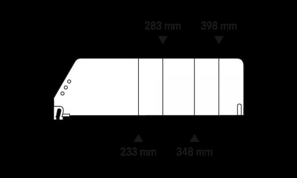 OS 2 Warenteiler H 120 mm × L 448 mm, glasklar