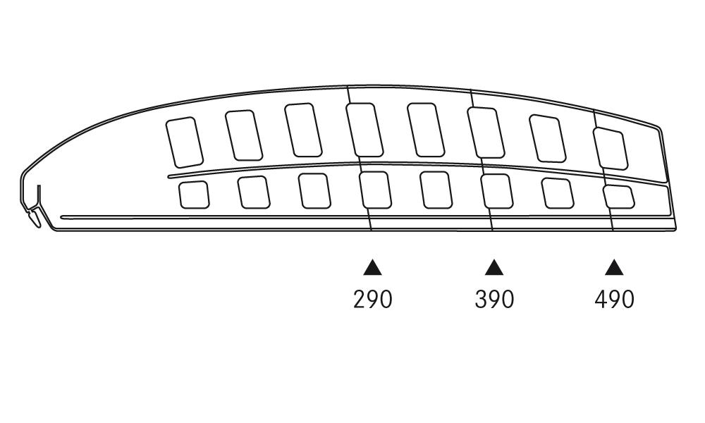 OS 1 Warenteiler H 120 × L 540 mm, glasklar