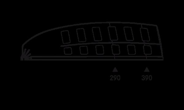OS 2 Warenteiler H 120 mm × L 440 mm, glasklar