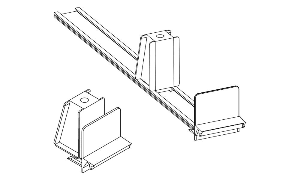OS 1 Warenvorschub-System, gerader Frontanker, H 60 mm × B 60 mm, grau