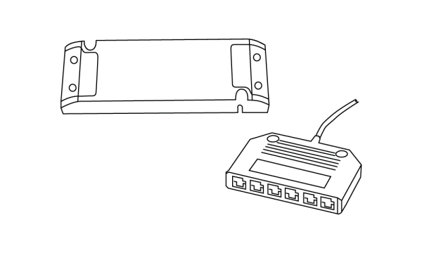 LED-Netzteile 24 V, 75 Watt mit 2.000 mm Leitung und Stecker LED-6fach-Verteiler