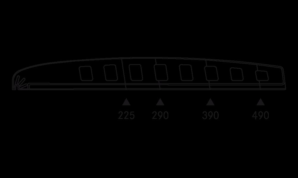 OS 2 Warenteiler H 65 mm × L 540 mm, glasklar